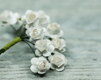 Miniature White Flowers, Rose Paper Flowers, Small White Flowers Craft Supplies Wedding Accessories Supplies Bridal Supplies Flower Bunch