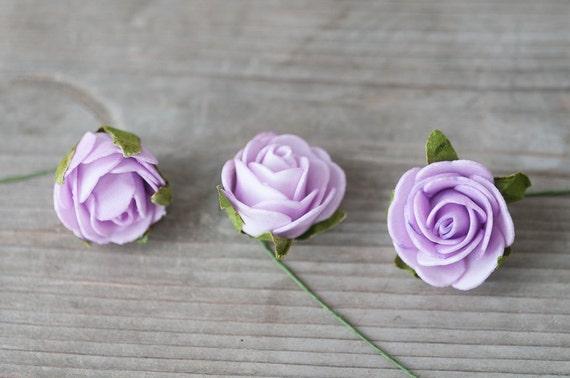 Lavender Fake Foam Roses Artificial Craft Roses Small Foam Etsy