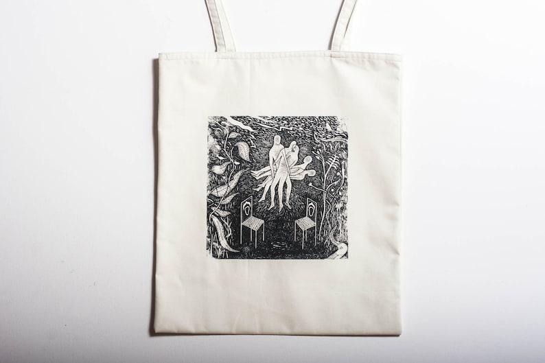Tote bag with original silkscreen printed design