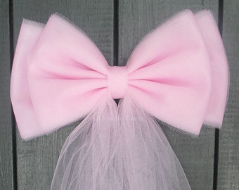 Light Pink Tulle Pew Bow | Optional Silver or Gold Bling | Wedding Ceremony Party | Bridal Shower | Chair Sash | Gender Reveal It's A Girl