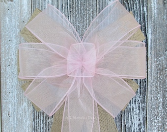 Burlap Wedding Pew Bow | Many Colors | Sheer Organza or Satin Ribbon | Ceremony Party Decoration | Bridal Chair Church Boy Girl Baby Shower