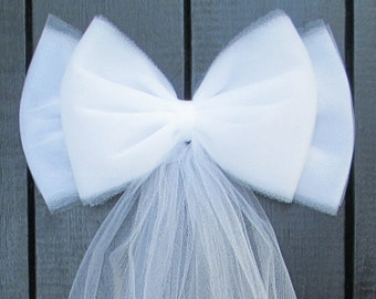 Tulle Pew Bow |  White or Ivory | Wedding Ceremony Decorations | Church Aisle | Chair Sash | Party Bridal Baby Girl Shower
