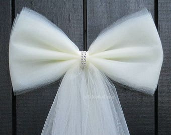 Tulle Bling Pew Bow | Ivory or White | Wedding Ceremony Decorations | Church Aisle Chair | Bridal Baby Girl Boy Shower