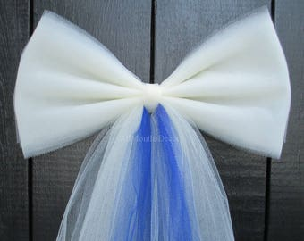 Tulle Pew Bow with Color | Optional Silver or Gold Bling | Ivory White | Wedding Ceremony Decorations | Church Aisle Chair | Baby Shower