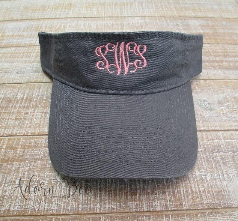 Charcoal Grey Personalized Visor with Vine Style Embroidered image 0