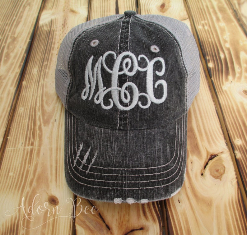 Distressed Trucker Hat with Personalized Embroidered Initials image 0