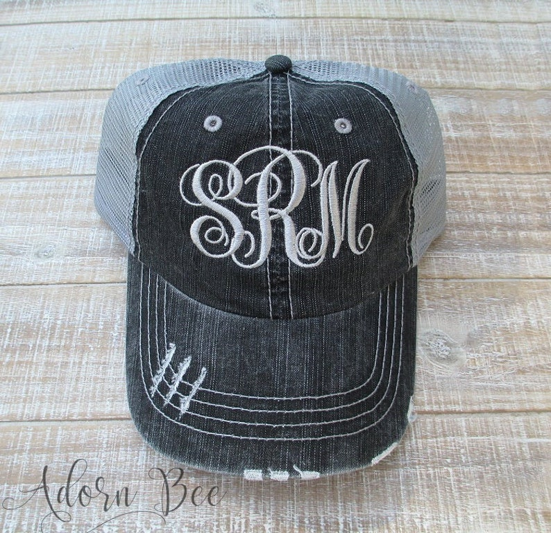 Monogram Distressed Trucker Hat with Personalized Embroidered image 0