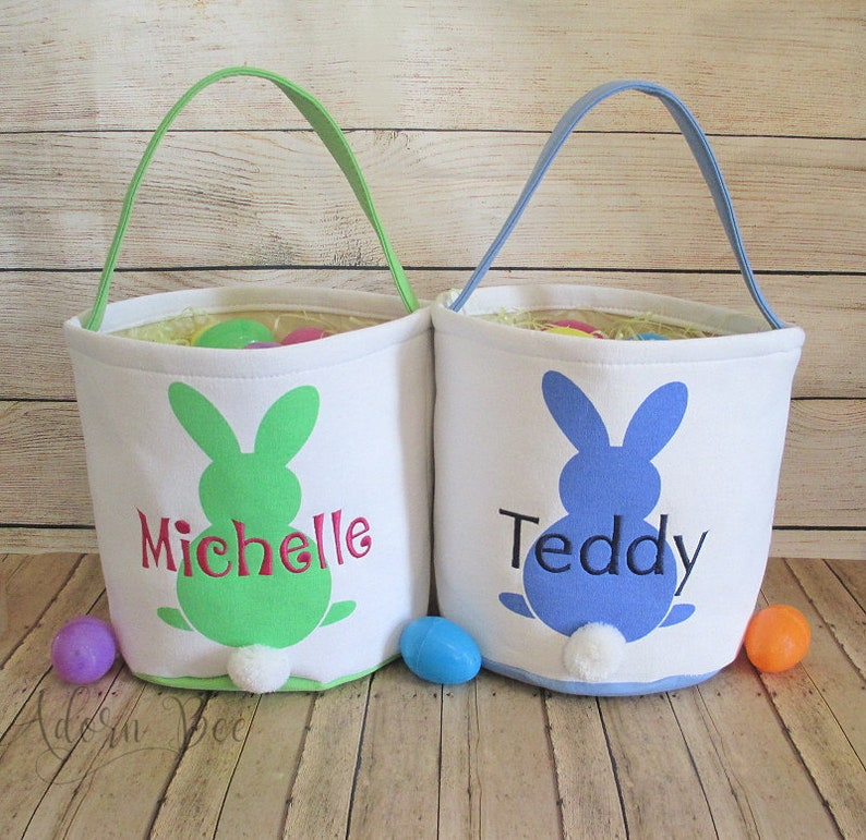 Easter Bucket Tote with Personalized Embroidered Name  Canvas image 0