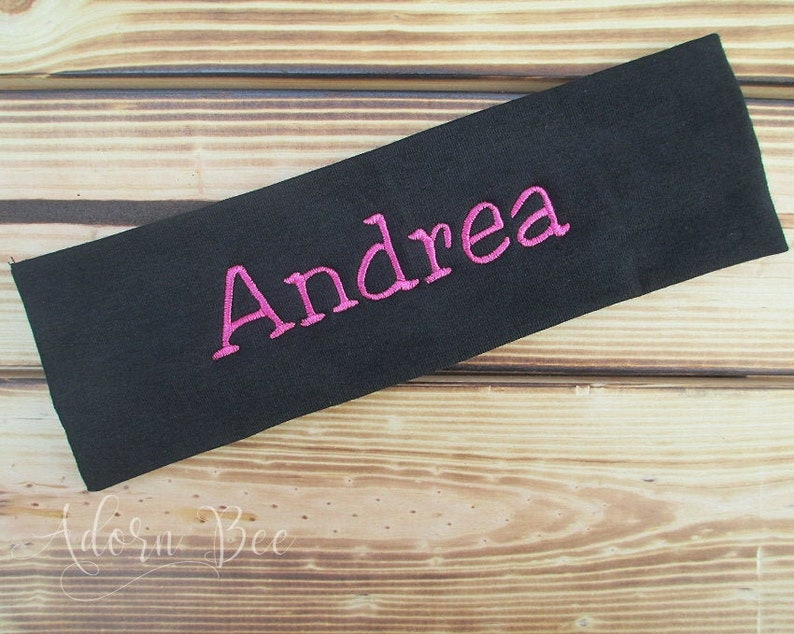 Personalized Headband  Custom Name Word Embroidered Headband image 0