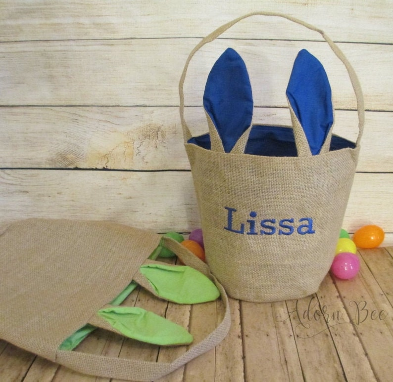 Easter Bunny Ear Tote Bag with Embroidered Name  Canvas Jute image 0
