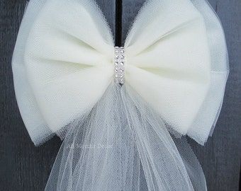 Small Tulle Bling Bow | Ivory or White | Wedding Ceremony Decorations | Church Aisle | Chair Sash | Party Bridal Baby Girl Shower