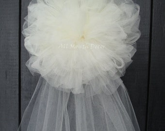 Tulle Half Pom Pew Bow |  Ivory or White | Assembled Wedding Ceremony Decorations | Party | Bridal Baby Shower | Chair Aisle Sash