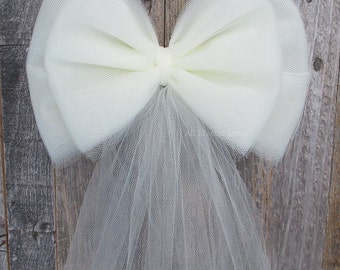 Small Tulle Bow | Ivory or White | Wedding Ceremony Decorations| Chair Sash Bow | Church Aisle | Party Bridal Baby Shower