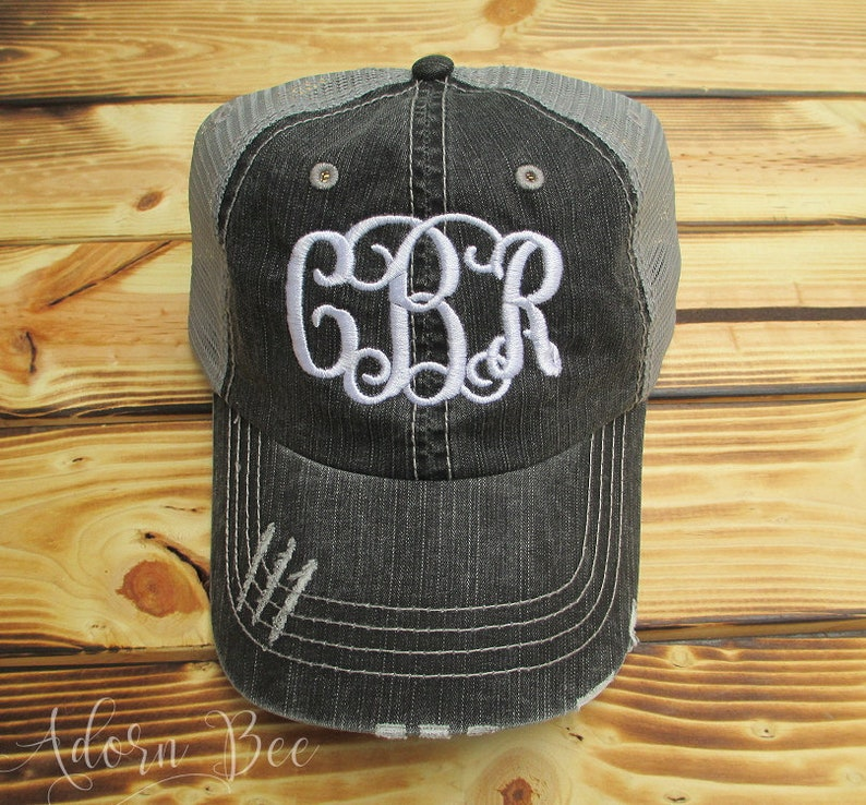 Monogram Distressed Trucker Hat with Vine Style Personalized image 0