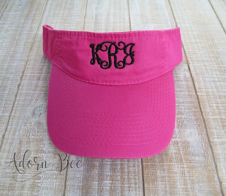 Hot Pink Personalized Visor with Vine Style Embroidered image 0