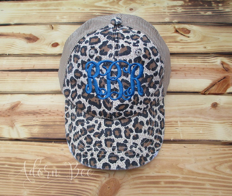 Personalized Leopard Animal Print Distressed Trucker Hat with image 0