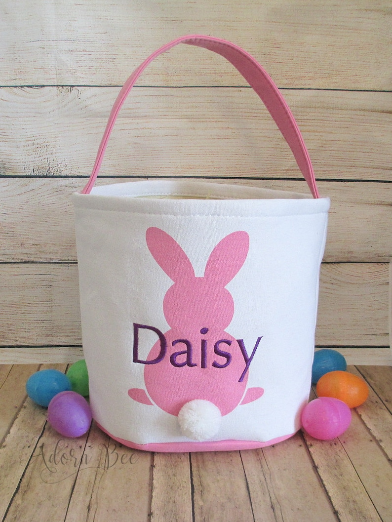 Easter Pink Bunny Bucket Tote with Personalized Embroidered image 0