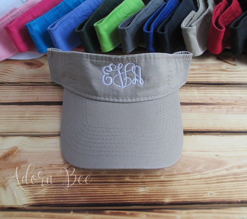 Khaki Monogrammed Visor with Personalized Embroidered Vine image 0