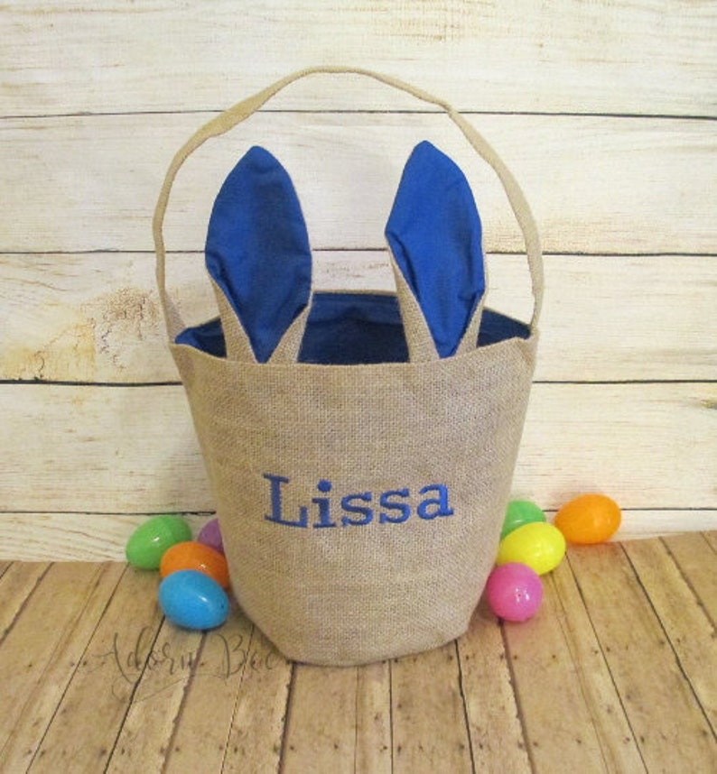 Easter Bunny Ear Tote Bag with Embroidered Name  Jute Burlap image 0