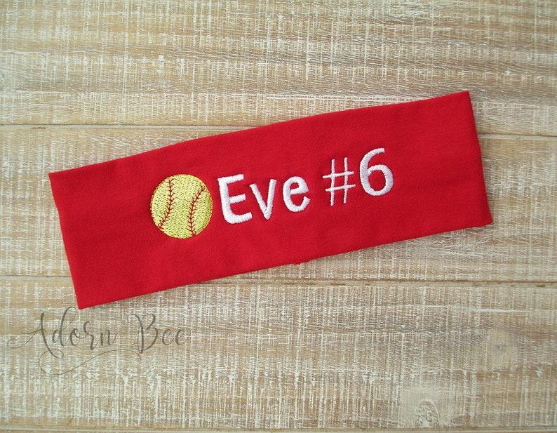 Softball Personalized Headband  Custom Embroidered Sports image 0