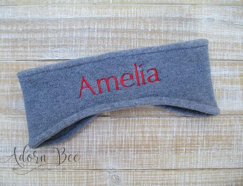 Personalized Name Fleece Ear Warmer Headband  Embroidered image 0