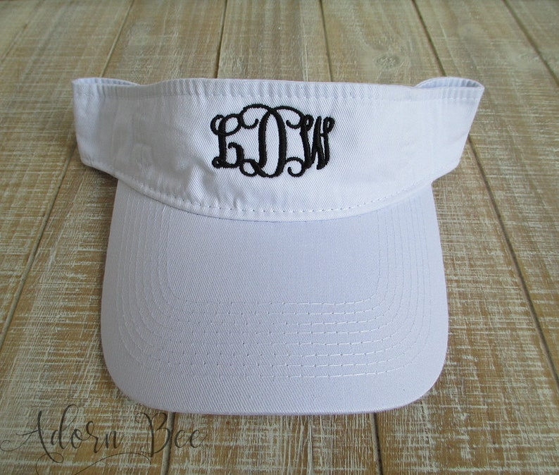White Monogrammed Visor with Personalized Vine Style image 0