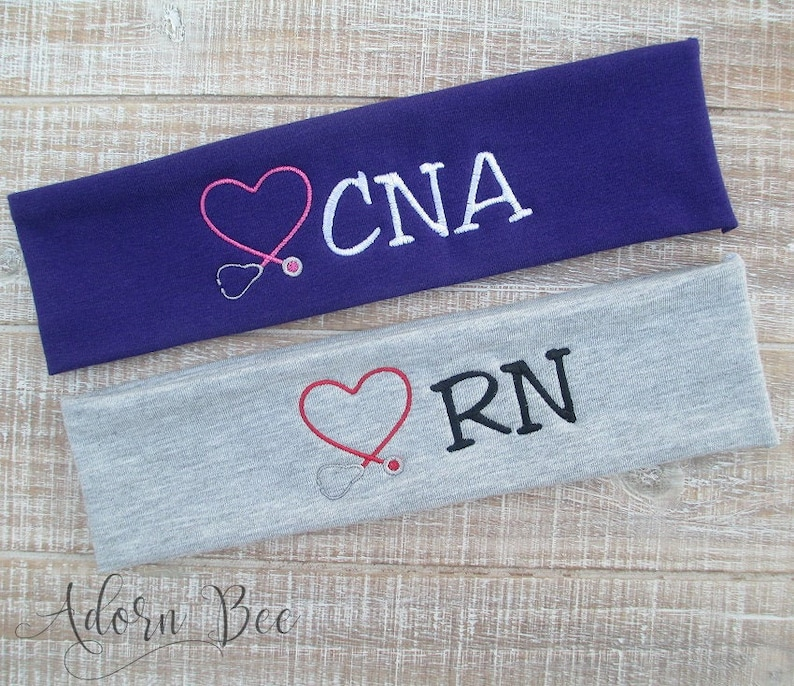 Personalized Nurse Headband  Embroidered Heart Stethoscope image 0