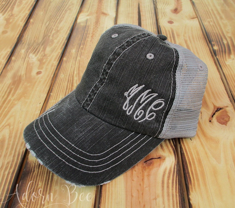 Side Monogram Distressed Trucker Hat with Personalized image 0