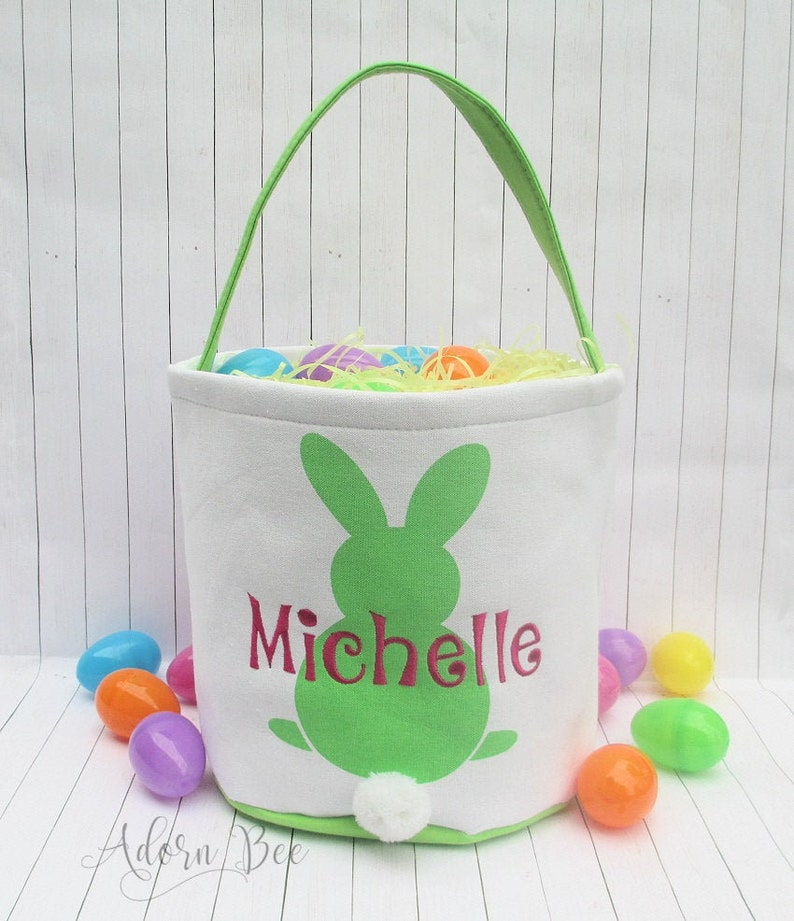 Easter Green Bunny Bucket Tote with Personalized Embroidered image 0
