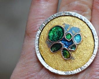 Silver Ring, Sandy Enamel on Gold. Cloissonné Opal patterns