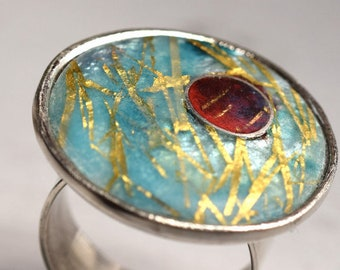 Silver Cloisonée Rings. Turquoise / Purple Matte Opals, Gold Insertions