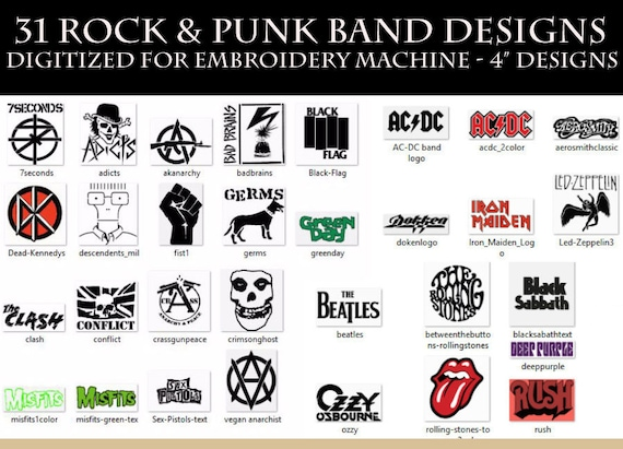 31 Rock N Roll Punk Band Embroidery Designs Pes Xxx Hus Etsy
