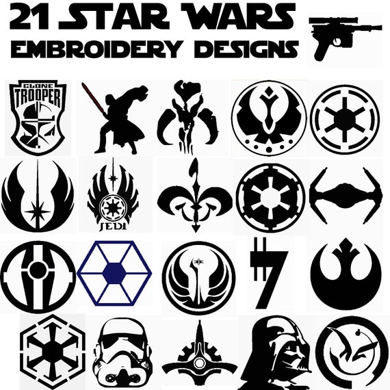21 Star Wars Insignia Embroidery Designs Pes Xxx Hus Dst Etsy