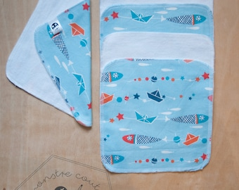Set of 5 Washcloths - boat and fish