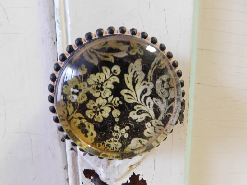 4 large black and beige floral pewter knobs drawer pulls