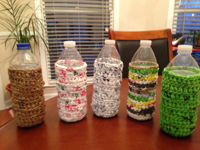 Bottle Cozies made from recycled grocery bags image 0
