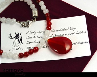 VIRGO NECKLACE - Carnelian Pendant & White Jade Beads - 17 1/4 Inches