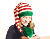 Christmas Long Tail Elf Hat with green Pom Pom, Newborn to Adult, Hand Knit, Christmas Long Striped Stocking Cap, Photo Prop Baby Elf hat