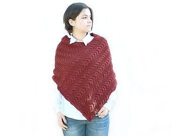 Hand Knit poncho, Knitted poncho, Handmade poncho, Wool knit Burgundy Bordo poncho , Boho, cabled poncho, Chunky knit poncho, gift for her