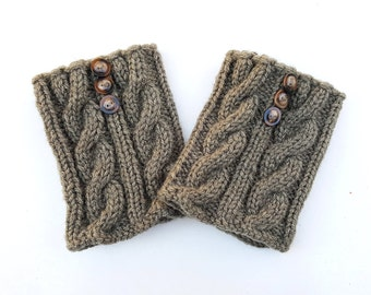 Wool Boot Cuffs with 3 buttons, Hand Knitted Woolen Grey Boot Cuffs, Leg Warmers, Boot Toppers
