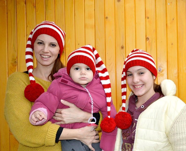 Christmas Long Tail Elf Hat with Pompom 2 Red White Knitted  a64118e4a7db