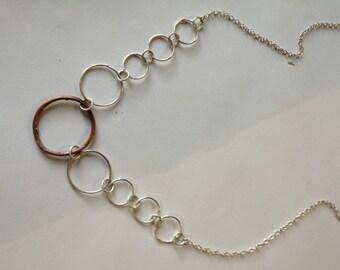 Fine silver and copper chain necklace.