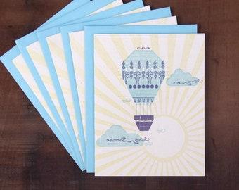 Hot Air Balloon - SET OF FIVE - letterpress printed greeting cards