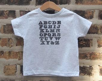 Alphabet Toddler T-shirt - Wood Type Inspired