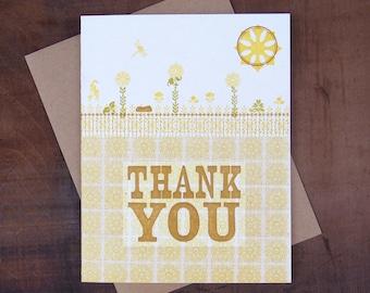Garden Thank You - Letterpress printed greeting card