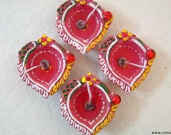 50% OFF-Diya WITHOUT Gel Home Decor Diwali Wedding Decor Housewarming Gift Handmade Indian Handicraft Lamps Diya Terracotta Clay - Set of 4