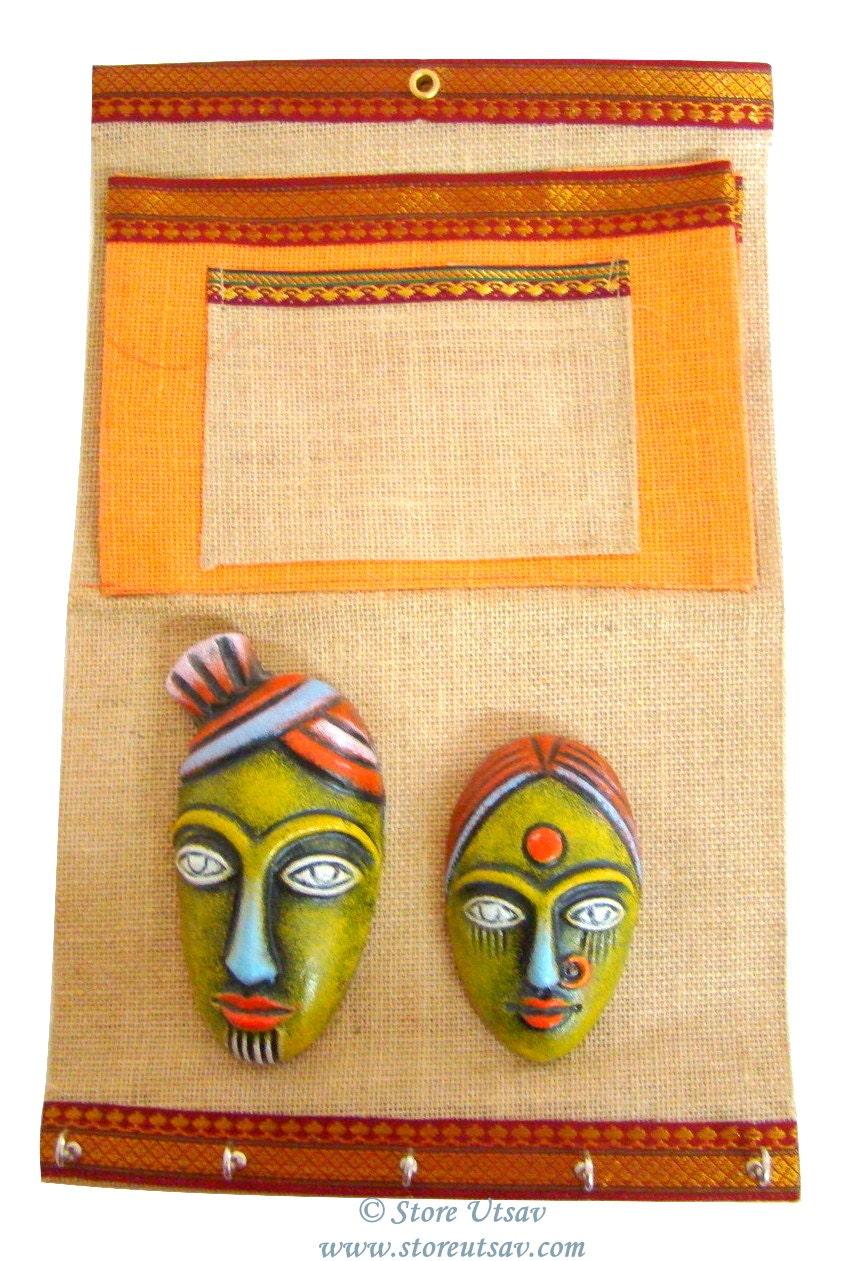 Home Decor Wall Hanging Organizer Indian Handicraft Keys | Etsy