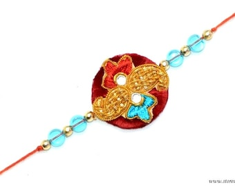 50% OFF-Rakhi Handmade Red & Blue Sibling Bands Zircon pearls work Rakshabandhan wristband Indian Handicraft from Rajasthan in West India