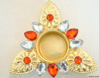 50% OFF-Tea Light Candle Holder Brass - Red & Silver Crystal Beads-Indian Handicraft-Floral-Kundan Work of Rajasthan from West India
