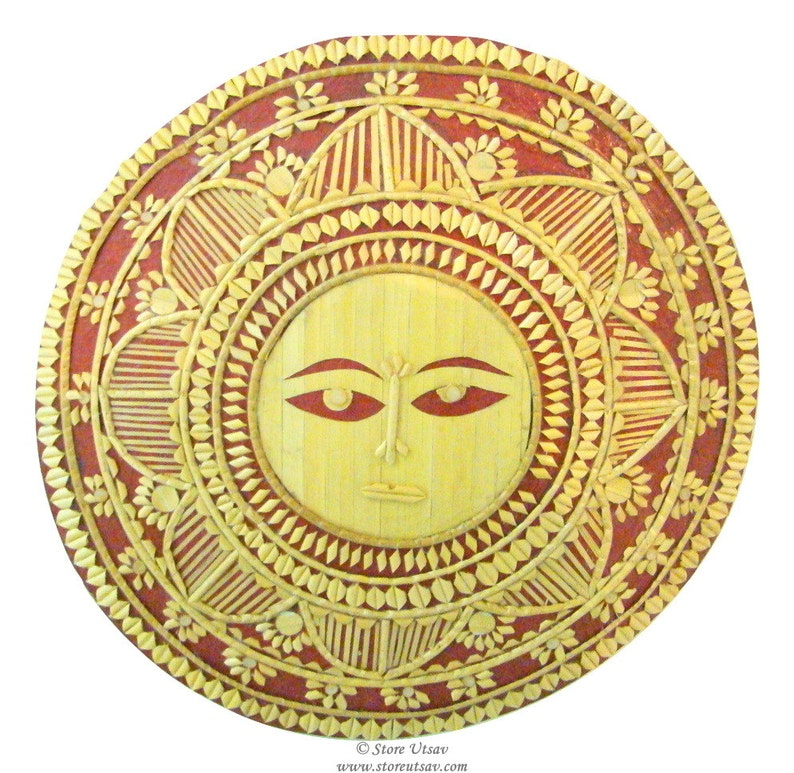 Wall Decor Sun Face Unframed Mural Cane Craft Indian Etsy